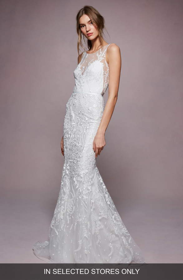 Marchesa Aimee Embroidered Tulle Trumpet Wedding Dress