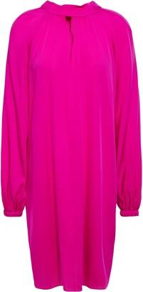 Milly Emerson Tie-neck Stretch-silk Mini Dress