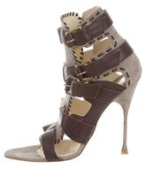Brian Atwood Leather-Trimmed Suede Sandals