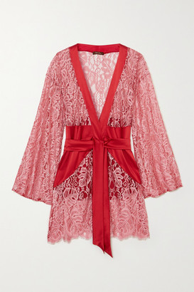 Coco de Mer Anthurium Belted Lace And Satin Robe - Red