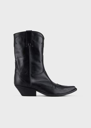 Emporio Armani Camperos Boots In Vegetable Leather With Laser-Cut Inlays