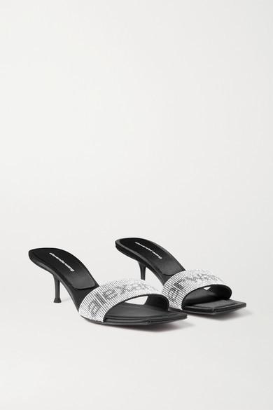 Alexander Wang Jessi Crystal-embellished Leather Mules - Black