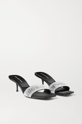 Alexander Wang Jessi Crystal-embellished Leather Mules - Black