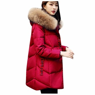 AOGOTO Women Quilted Down Coat Winter Warm Fur Collar Hooded Jacket Belted Overcoat Outwear Wine