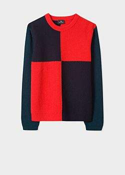 Men's Red And Navy Wool-Blend Large-Check Sweater