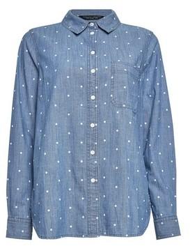 Dorothy Perkins Womens Blue Polka Dot Print Denim Shirt, Blue