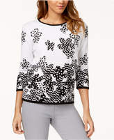 Alfred Dunner Petite Cotton Printed Embellished Sweater