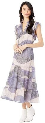 BB Dakota All Mixed Up Patchwork Floral Printed Chiffon Midi Dress (Steel Lavender) Women's Clothing