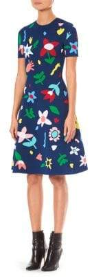 Carolina Herrera Short Sleeve Floral Knit Dress