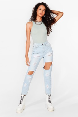 Nasty Gal Womens Rip's Down to You Distressed Mom Jeans - Mid Blue