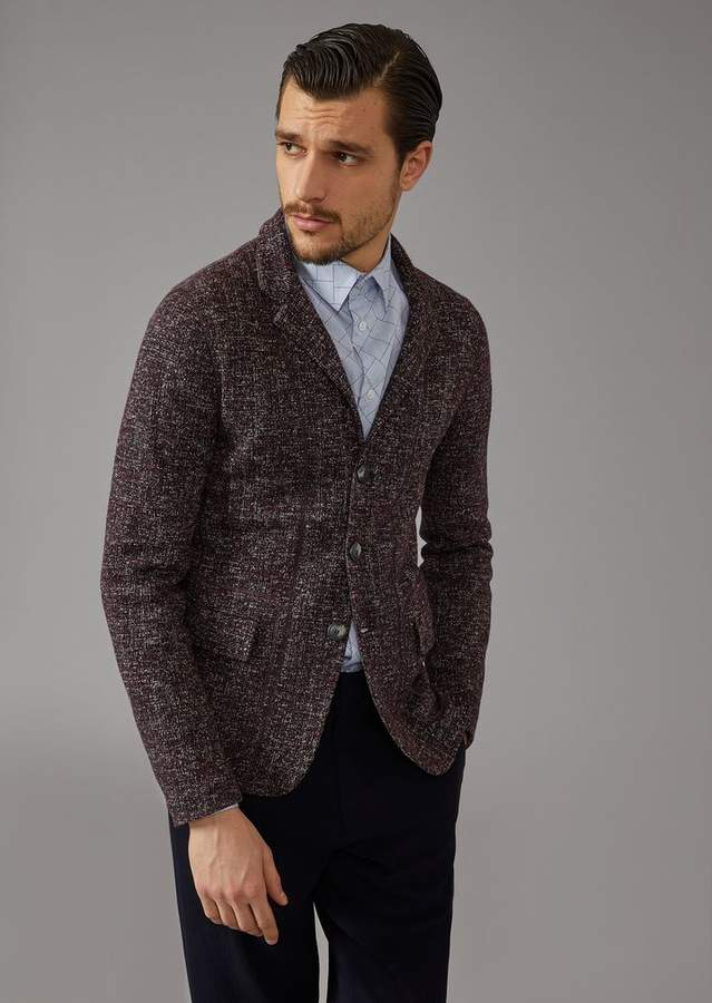 Giorgio Armani Single-Breasted Patterned Jersey Jacquard Jacket