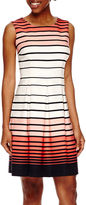 Studio 1 Sleeveless Graduated Stripe Fit-and-Flare Dress