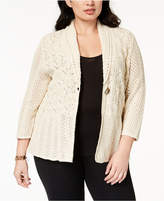 JM Collection Plus Size Pointelle-Knit Cardigan, Created for Macy's
