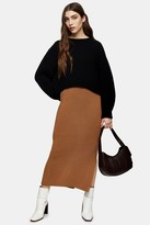 Topshop Womens Camel Knitted Midi Skirt - Camel