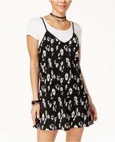 Trixxi Juniors' Printed Slip Dress with T-Shirt