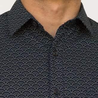 Blade + Blue Navy Blue Wave Print Short Sleeve Shirt - DANNY