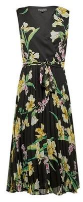 Dorothy Perkins Womens Black Sleeveless Wrap Pleated Dress, Black