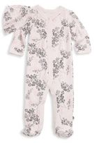 Offspring Baby Girl's Two-Piece Floral Cotton Footie & Hat Set