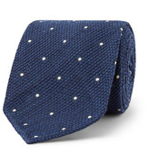Drakes Drake's - 8cm Pin-dot Wool And Silk-blend Tie - Storm blue