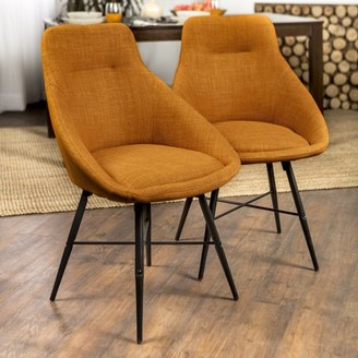 Oscar Set of 2 Orange Linen Curved Dining Chairs by Bellamy Studios
