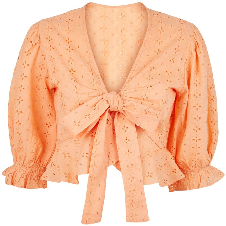 Thumbnail for your product : New Look Pink Vanilla Crochet Wrap Top