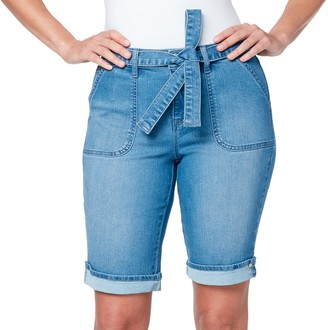 Gloria Vanderbilt Women's Belted Bermuda Jean Shorts
