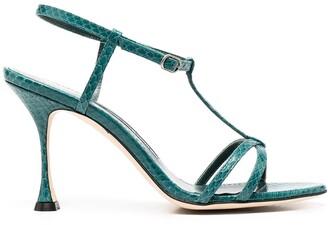 Manolo Blahnik Snakeskin-Effect Strappy Sandals