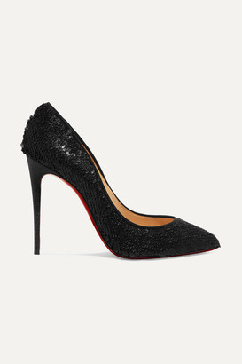 Christian Louboutin Pigalle Follies 100 Sequined Leather Pumps - Black
