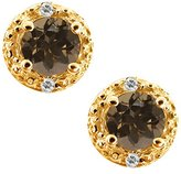 Gem Stone King 0.54 Ct Round Brown Smoky Quartz and White Topaz 18k Yellow Gold Earrings