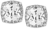Betsey Johnson Silver-Tone Square Crystal and Pavé Stud Earrings