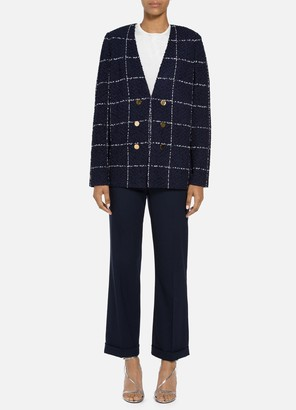 St. John Herringbone Grid Double Breasted Jacket