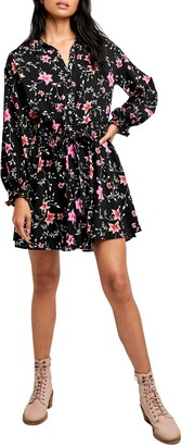 Free People Lighten Up Floral Long Sleeve Minidress