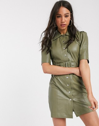 Object leather shirt dress in sage