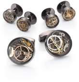 Tateossian Industrial Gear Cuff Link & Shirt Stud Set