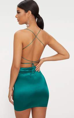 PrettyLittleThing Emerald Green High Neck Strappy Back Bodycon Dress