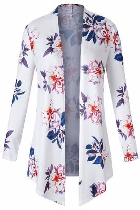 Kesujin Women's Open Front Drape Hem Lightweight Cardigan Long Sleeve White Floral Boyfriend Kimono Cardigans (XL