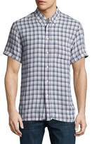 Billy Reid Tuscumbia Plaid Short-Sleeve Sport Shirt, Blue/Natural