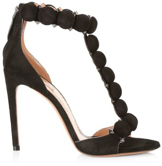 Alaia Bombe T-Strap Suede Sandals
