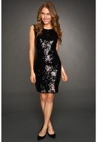 MICHAEL Michael Kors S/L All Over Sequin Dress (Black/Silver) - Apparel