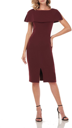 Kay Unger New York Sloan Stretch Crepe Sheath Dress w/ Capelet & Front Slit