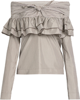 Isa Arfen Knot-front ruffled cotton and silk-blend top