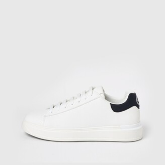 River Island Mens White textured lace-up wedge sole trainers