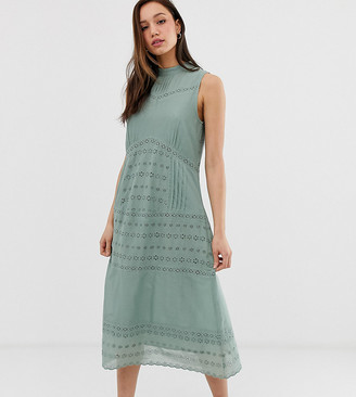 Asos Tall DESIGN Tall sleeveless victoriana midi dress with lace insert-Green