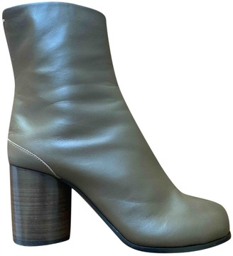 Maison Margiela Tabi Green Leather Ankle boots
