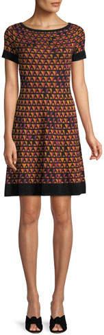 M Missoni Triangle Knit Short-Sleeve Dress