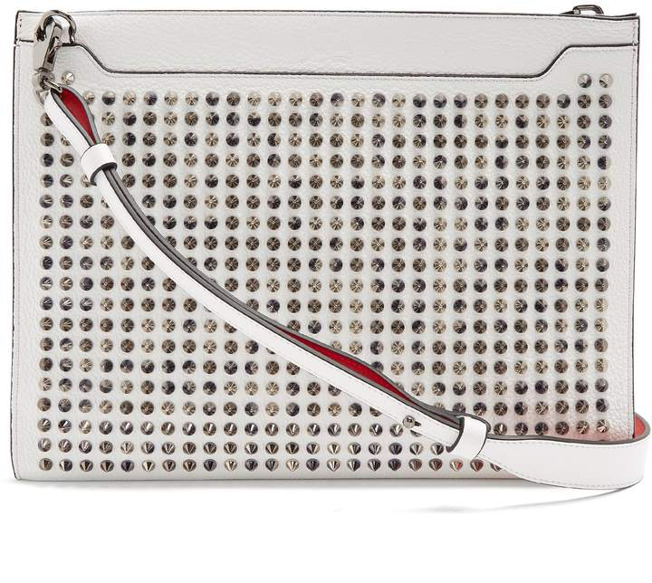 Christian Louboutin Skypouch spike-embellished leather clutch