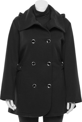 Details Plus Size Hood Envelope Collar Double-Breasted Coat