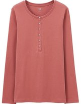 Uniqlo Women Supima Cotton Henley Neck Long Sleeve T