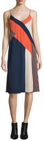 Diane von Furstenberg Frederica Sleeveless Colorblock Slip Dress, Rickrack Khaki/Orange/Midnight