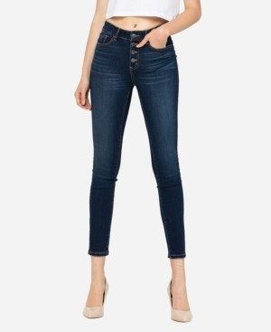 VERVET Women's High Rise Button Up Skinny Ankle Jeans